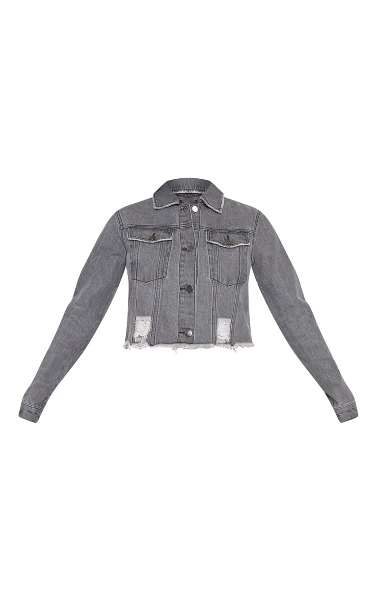 Tall Charcoal Cropped Denim Jacket 3