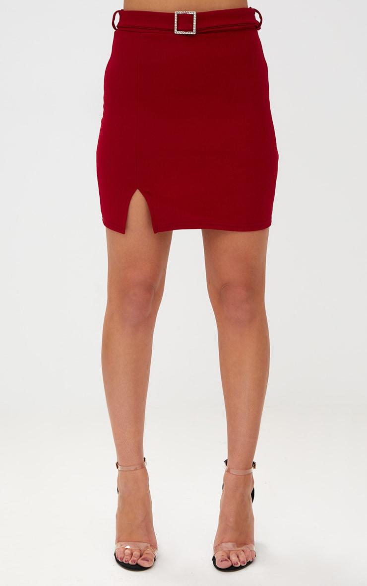 Burgundy Belted Split Mini Skirt 2