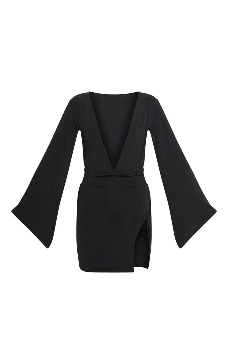 Black Drape Sleeve Plunge Extreme Split Leg Bodycon Dress 3
