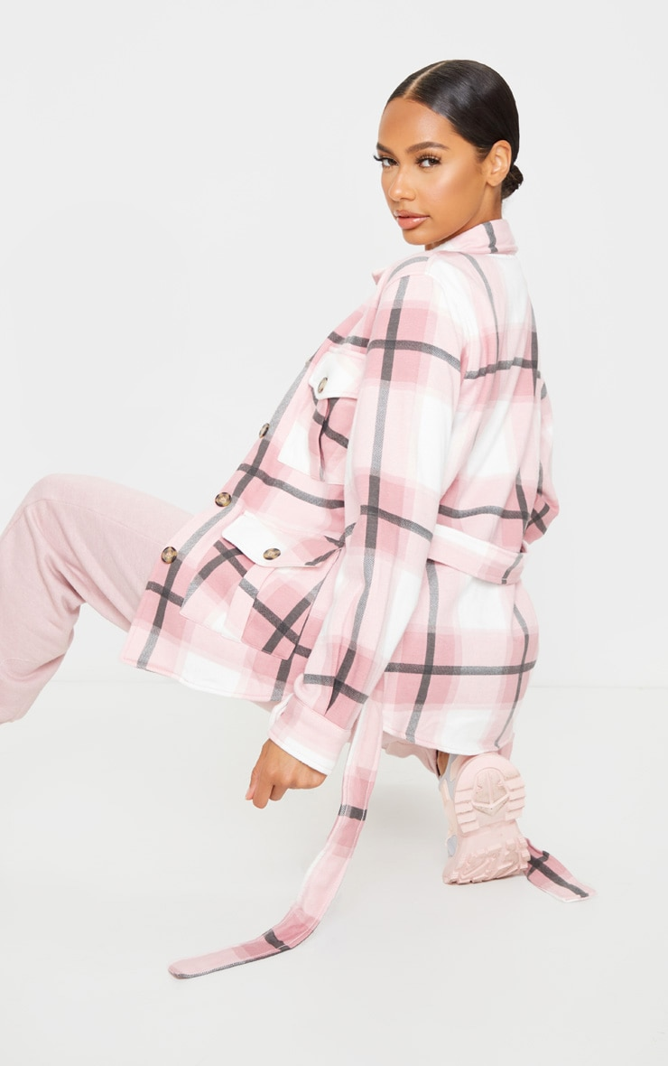 Pink Checked Belted Dipped Hem Shacket 2