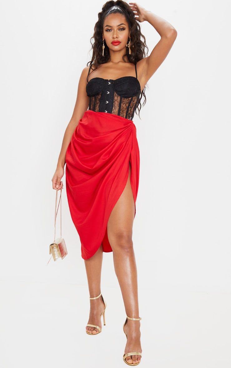 Red Ruched Side Midi Skirt 1