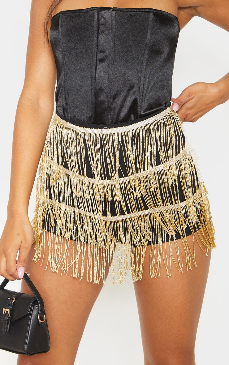 Gold Tiered Fringe Shorts 6