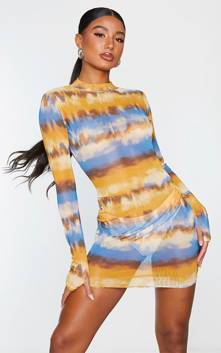 Multi Tie Dye Print Mesh Long Sleeve High Neck Thumb Hole Bodycon Dress 1