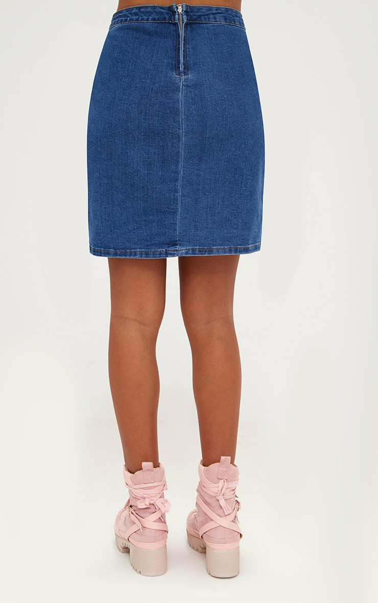 Mid Wash Denim Wrap Mini Skirt 4