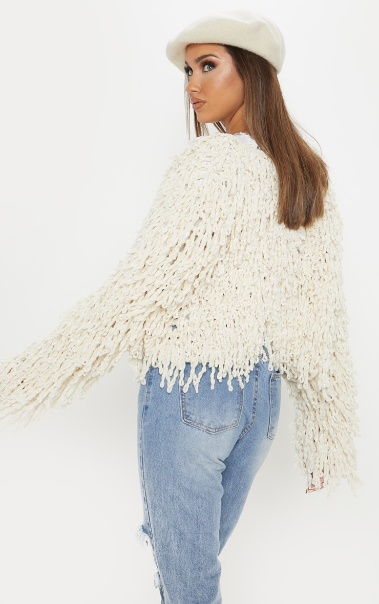Cream Chenille Shaggy Knitted Cardigan 2