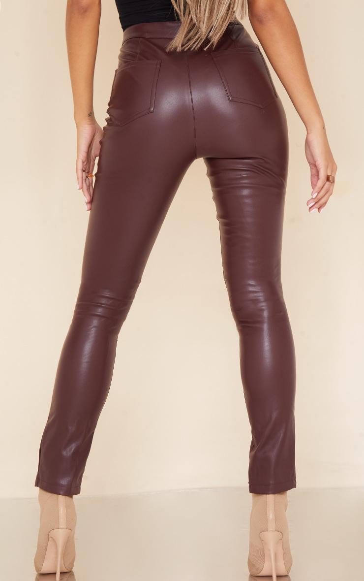 Dark Chocolate Split Hem Faux Leather Skinny Pants 3