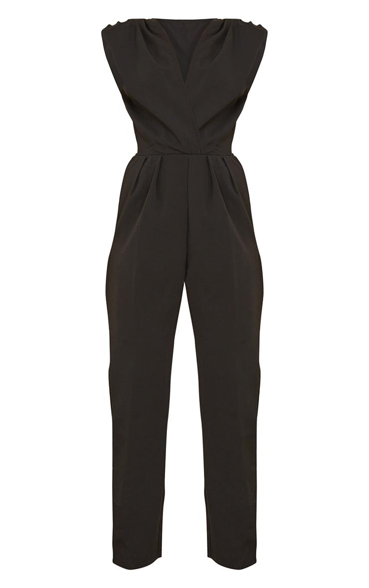 Black Shoulder Pad Wrap Woven Jumpsuit 5