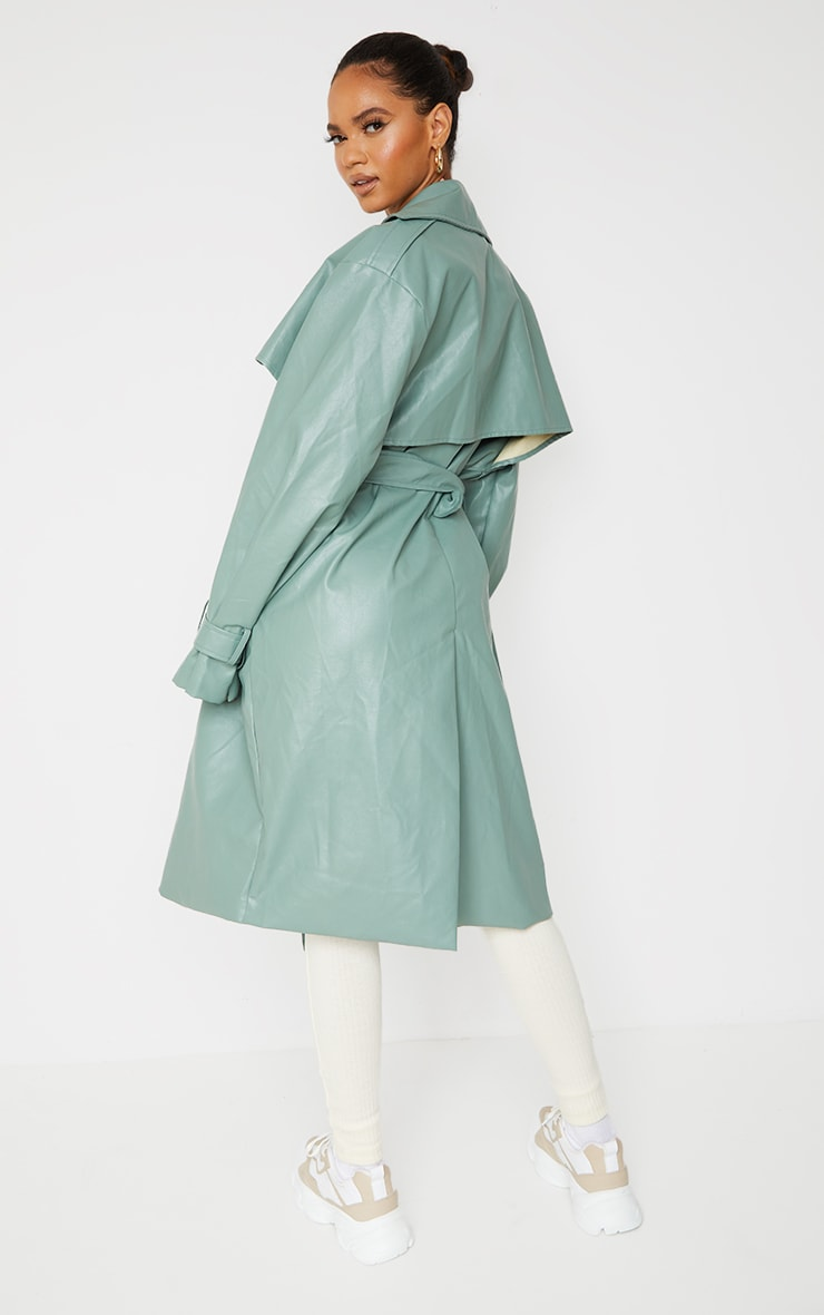 Duck Egg Blue Faux Leather Oversized Belted Midi Trench 2
