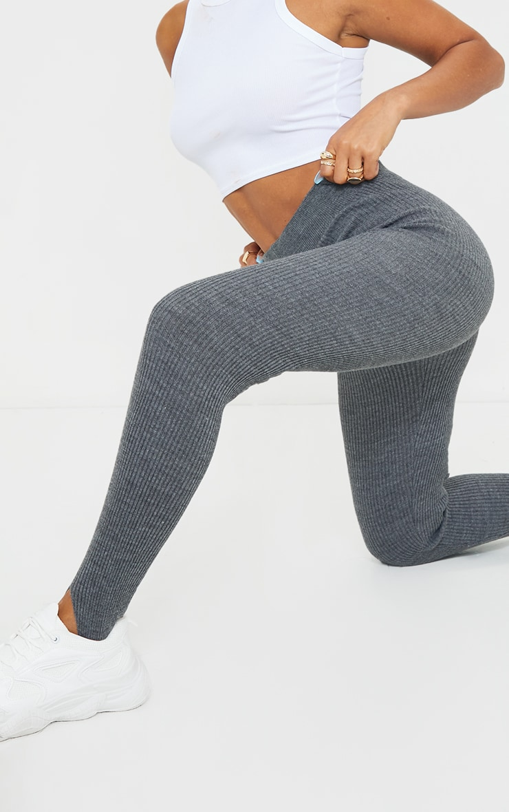 Charcoal Stirrup Ribbed Knitted Legging 4