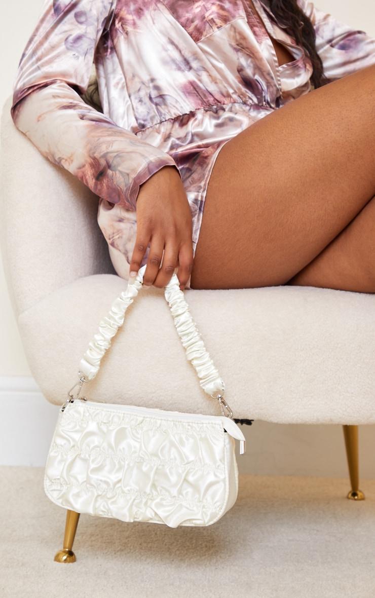 Cream Ruched Handle Shoulder Bag 1