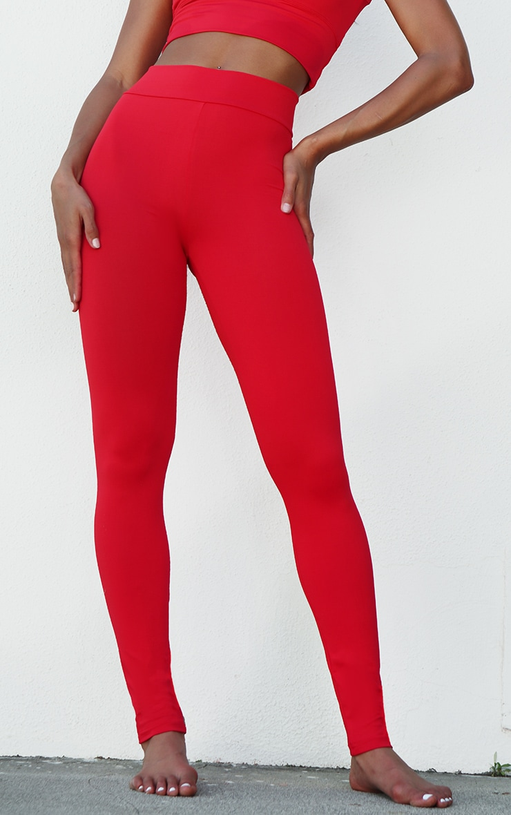 Red Yoga Luxe High Waist Gym Leggings 3