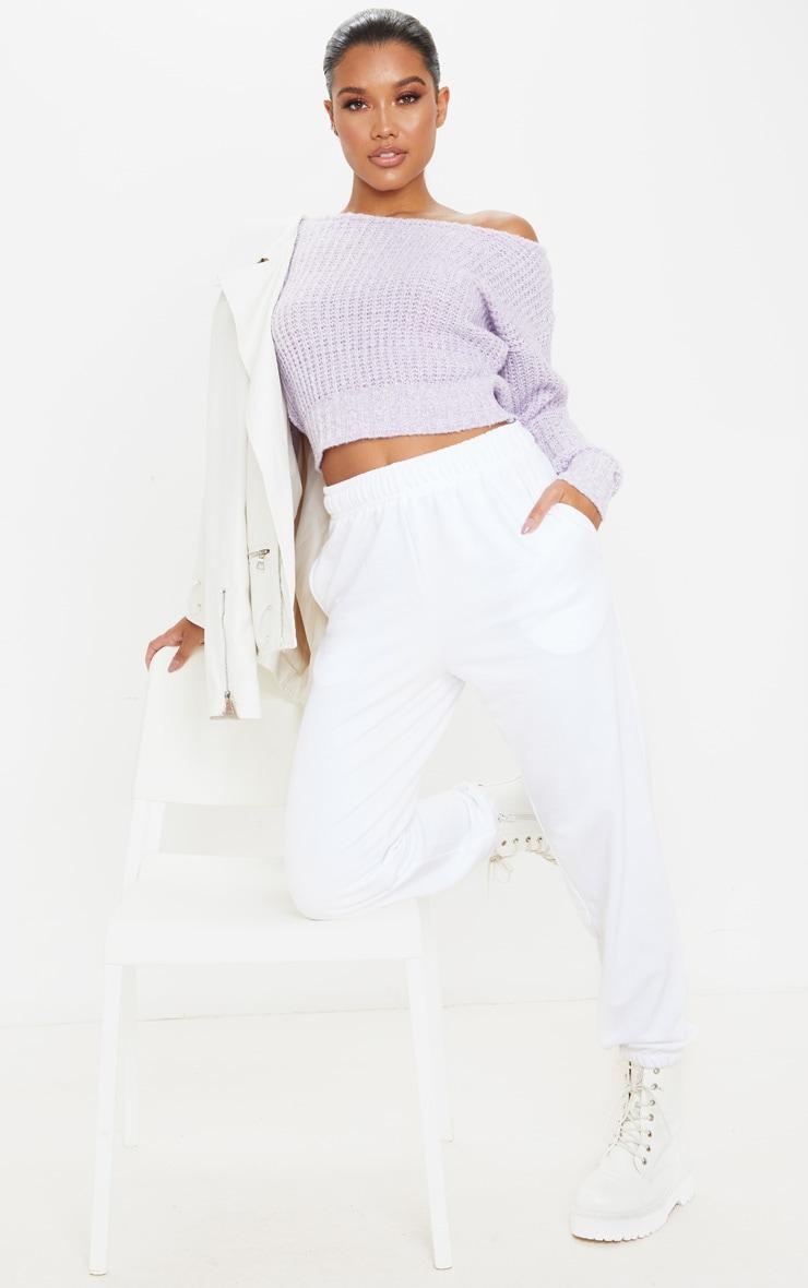 Lilac Two Tone Off Shoulder Crop Jumper 3