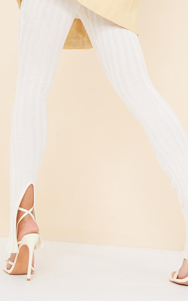 Cream Jumbo Cotton Rib Split Hem Leggings 4