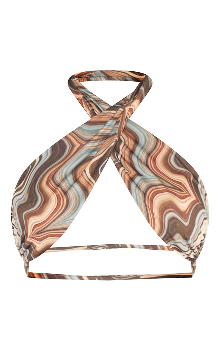 Tall Brown Marble Print Slinky Under Bust Wrap Top 5