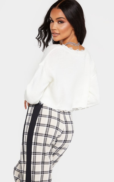 Ivory Fray Edge Crop Knitted Jumper
