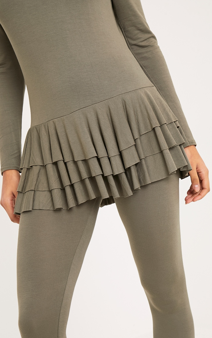Cecilia Khaki Ruffle Hem Top & Leggings Set 5