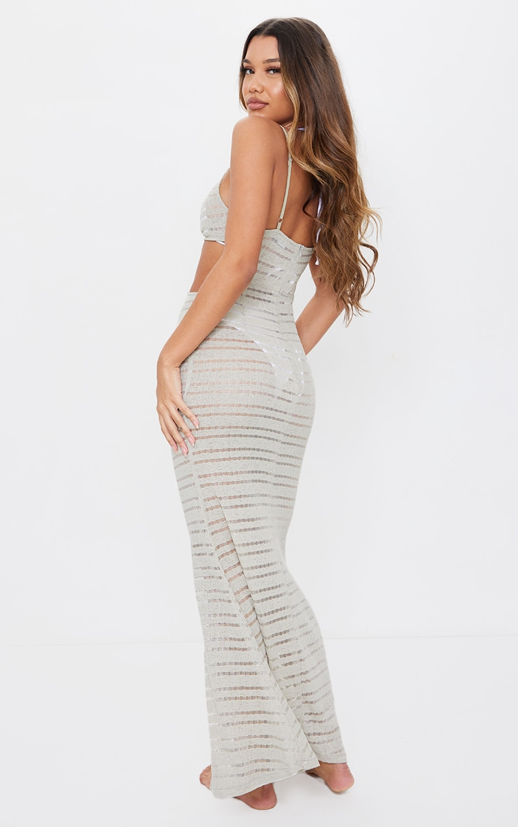 Stone Cut Out Sheer Glitter Knit Maxi Beach Dress 2