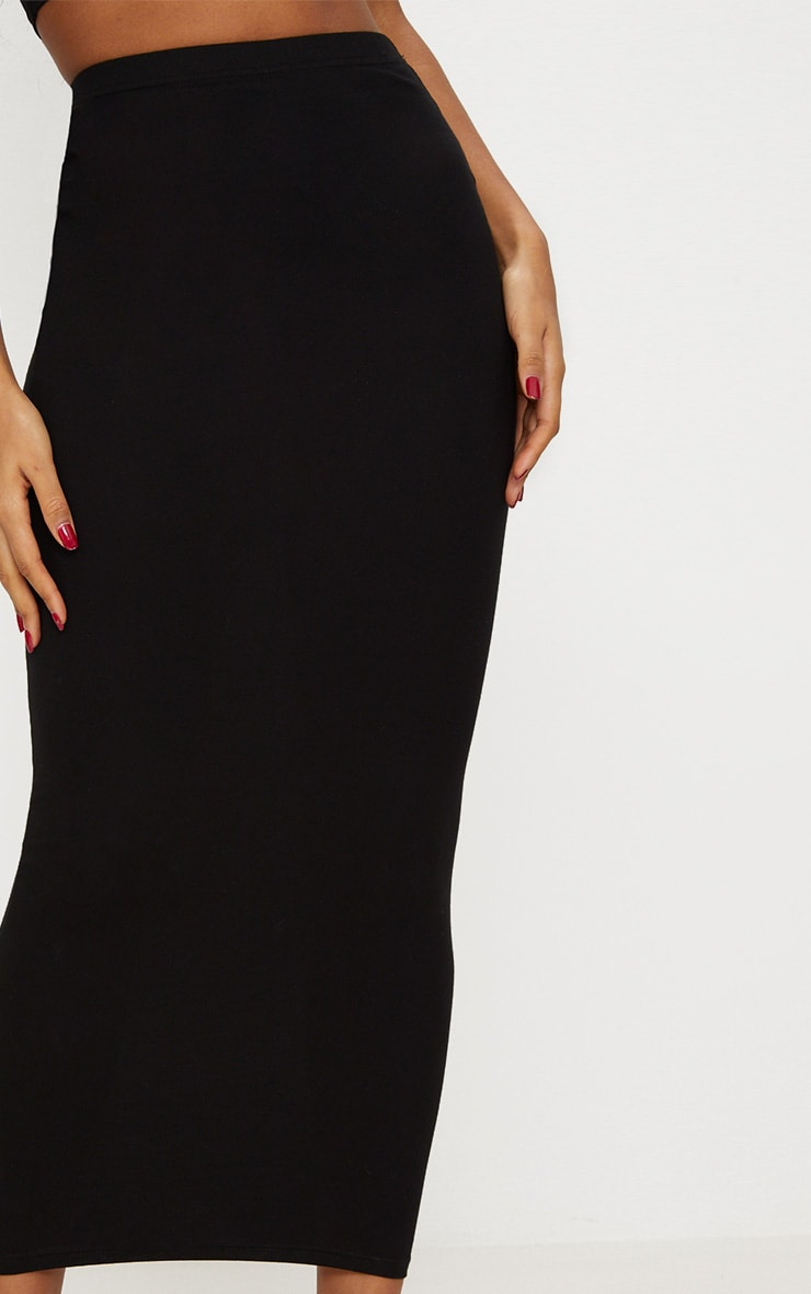 Black Jersey Midaxi Skirt  5