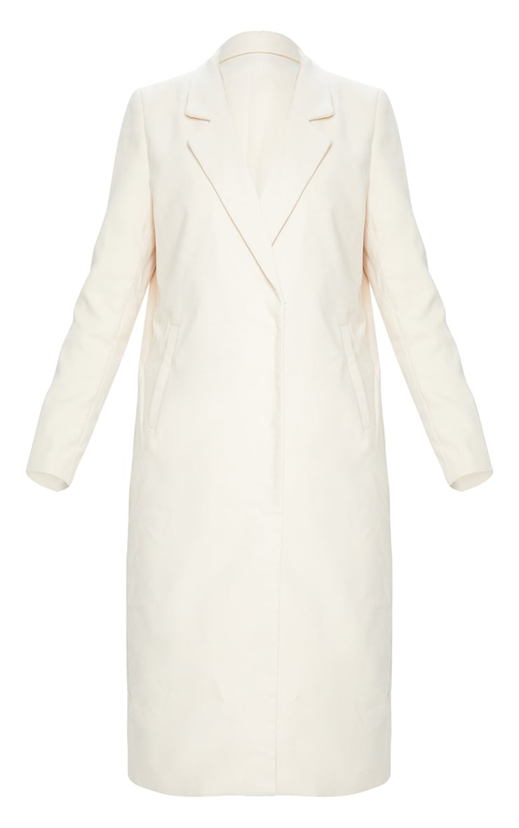 Cream Double Breasted Longline Coat 5