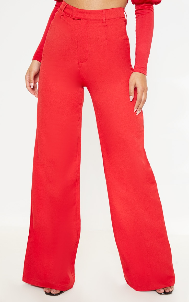 Red Wide Leg Crepe Trousers 2