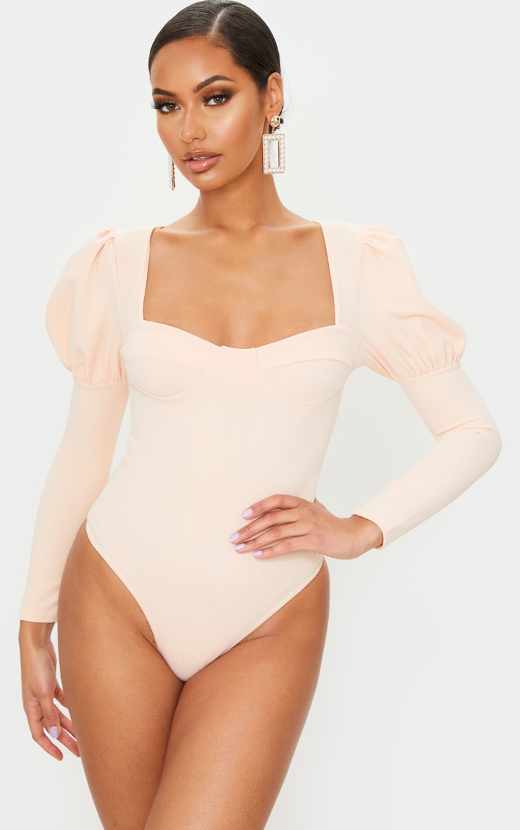Nude Crepe Puff Sleeve Square Neck Bodysuit 2