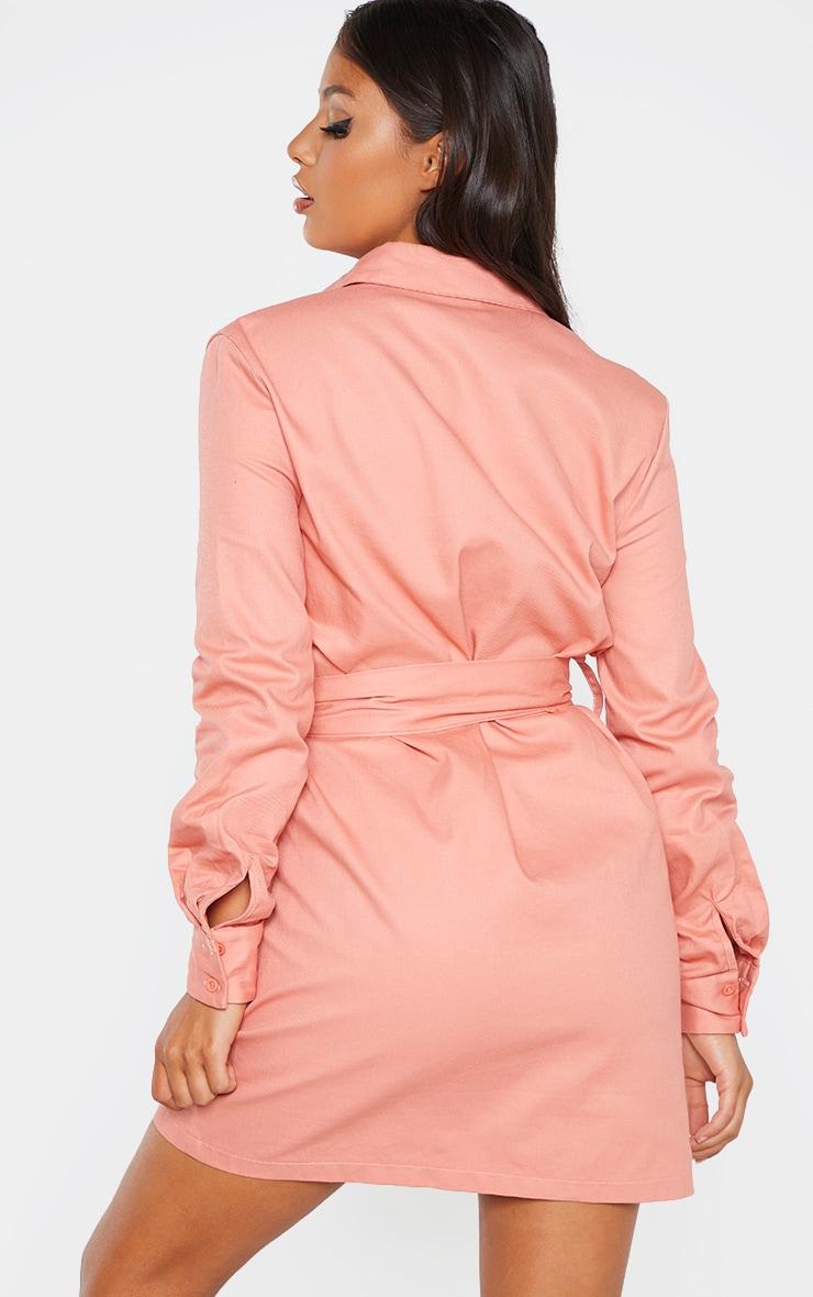 Petite - Robe chemise rose cendré nouée à la taille style utilitaire 2