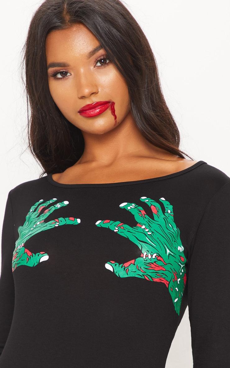 Black Zombie Hands Slogan Bodycon Dress 5