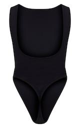 Black Crepe Side Boob Thong Bodysuit  2