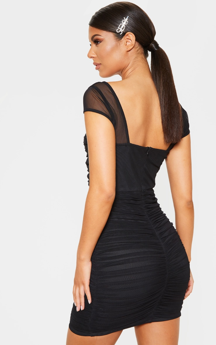 Black Ruched Mesh Bodycon Dress 2