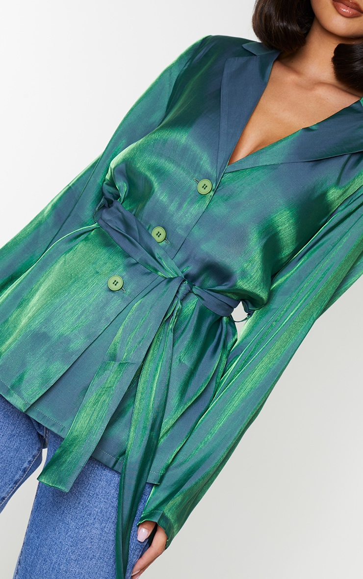 Green Metallic Tie Front Collared Long Sleeve Shirt 4