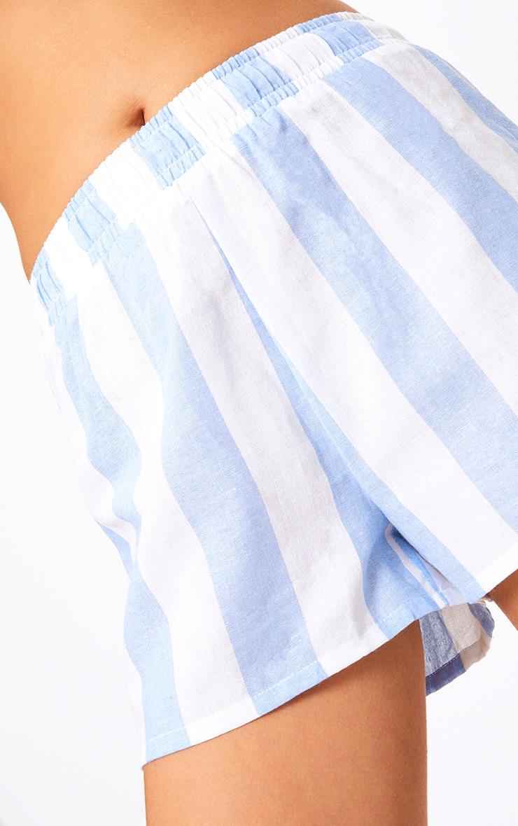 Baby Blue Bold Stripe Beach Shorts 5