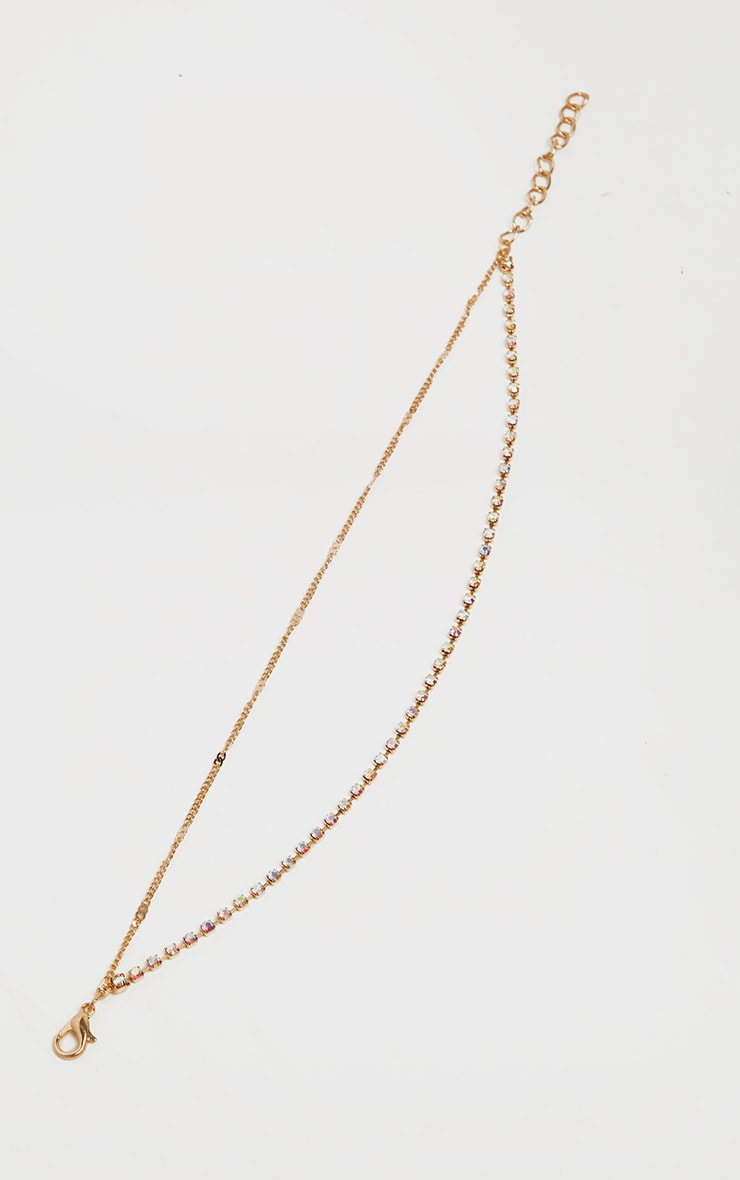 Gold Diamante Double Chain Anklet 4