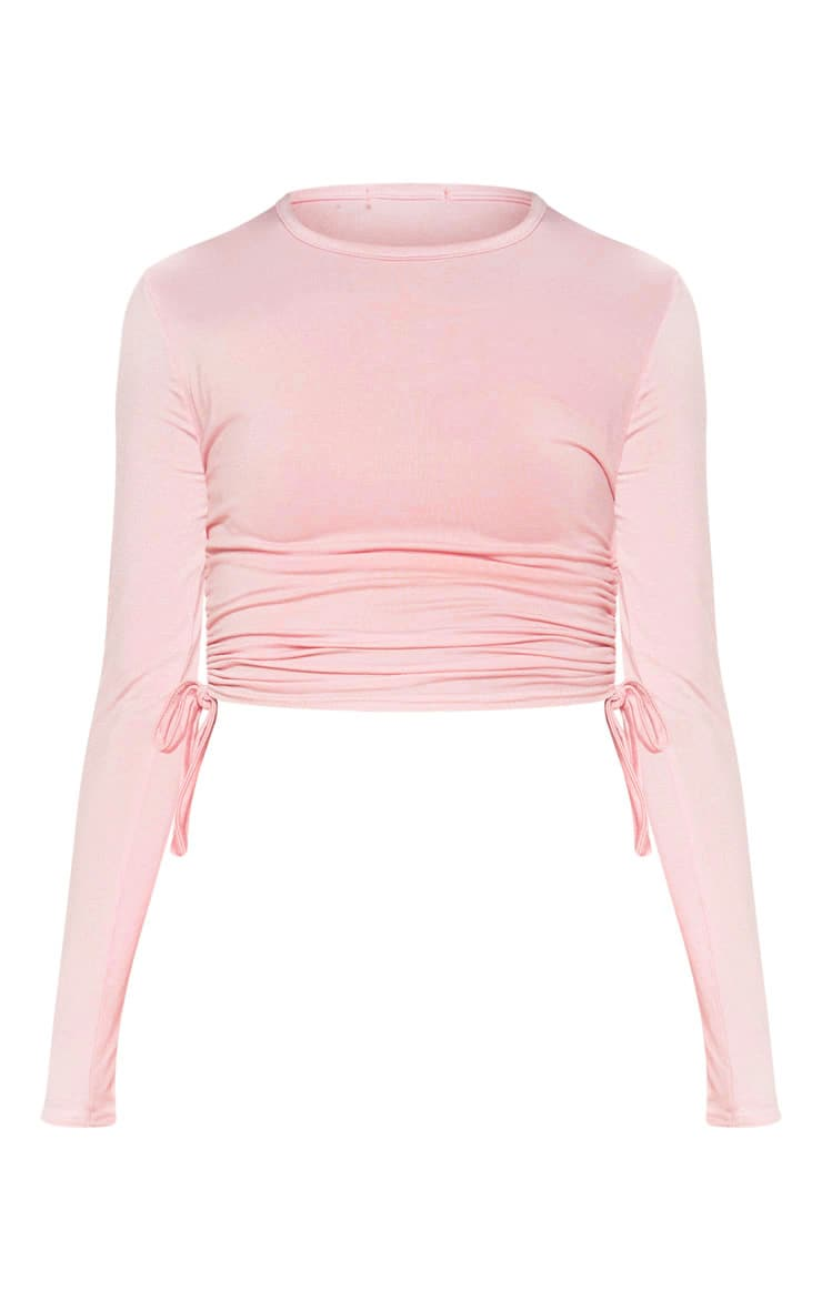 Baby Pink Jersey Ruched Side Long Sleeve Top 3