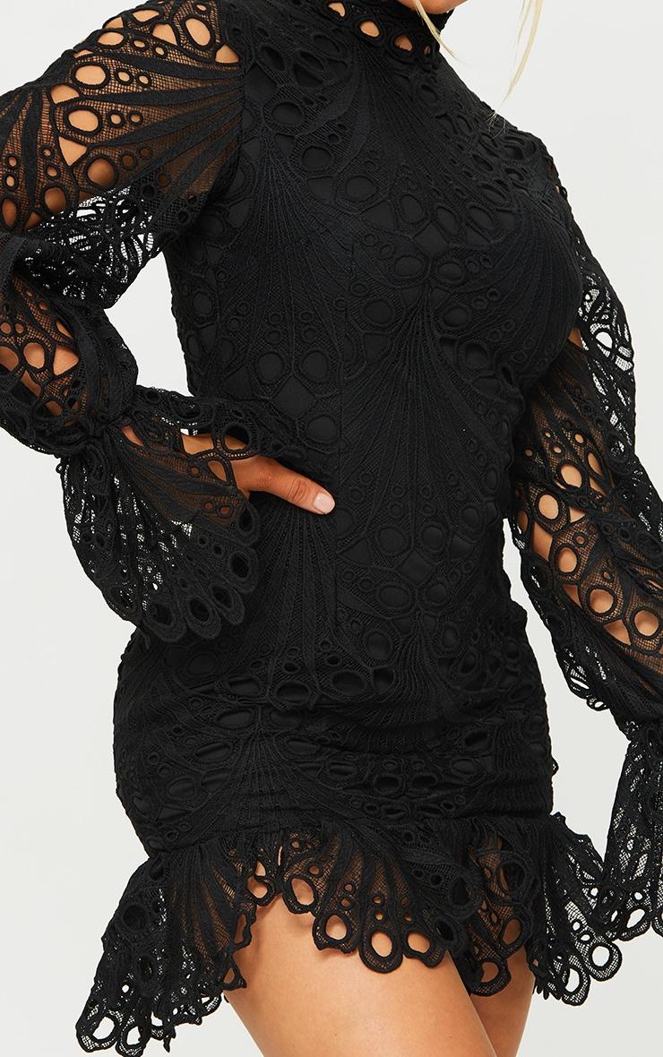 Black High Neck Lace Long Sleeve Frill Bodycon Dress 4