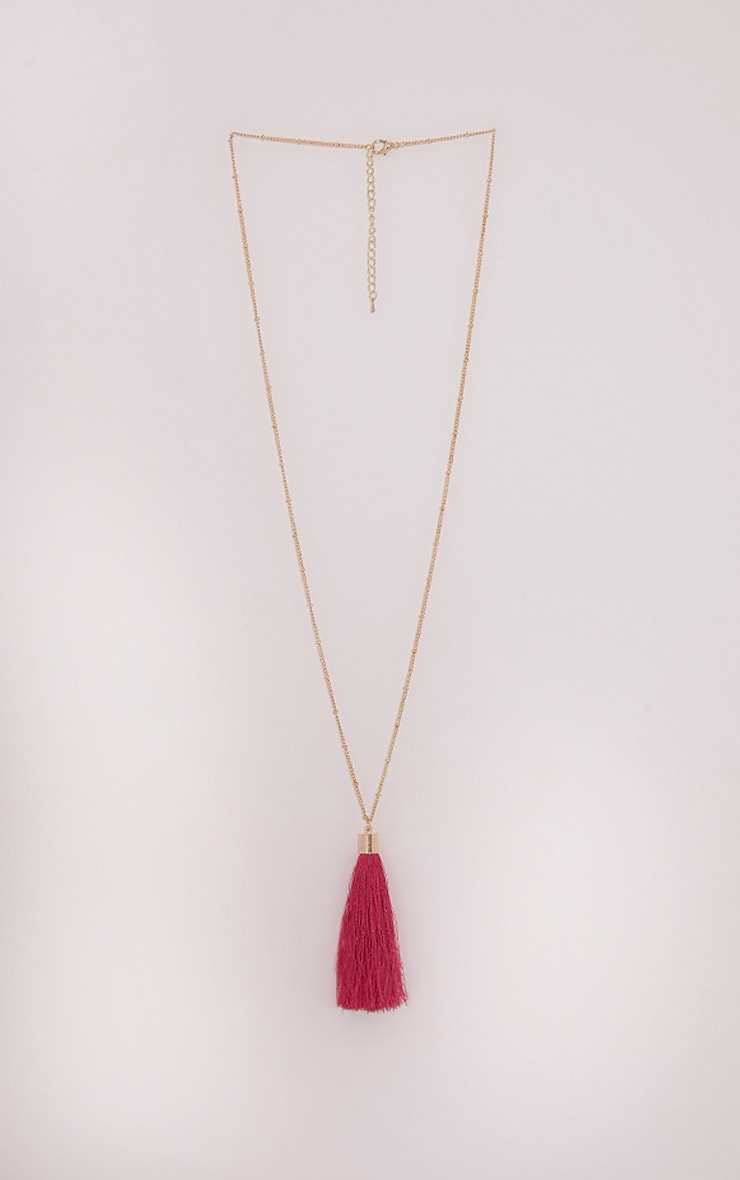 Belle Pink Long Tassel Chain Necklace 3