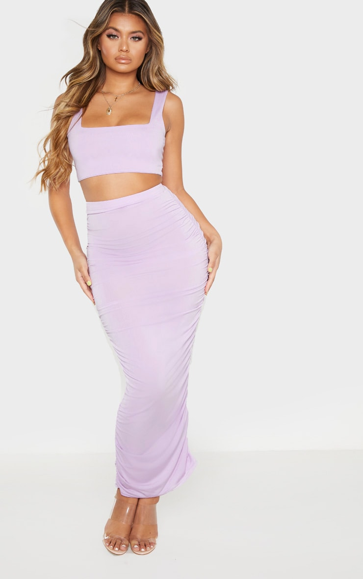 Lilac Second Skin Slinky Ruched Midaxi Skirt 1