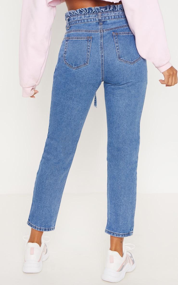 Mid Wash Paperbag Jeans 4