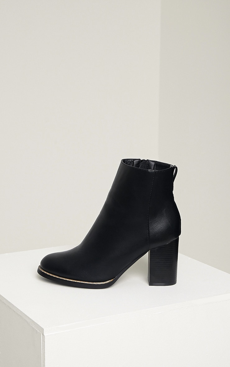 Elana Black Faux Leather Heeled Ankle Boots 5