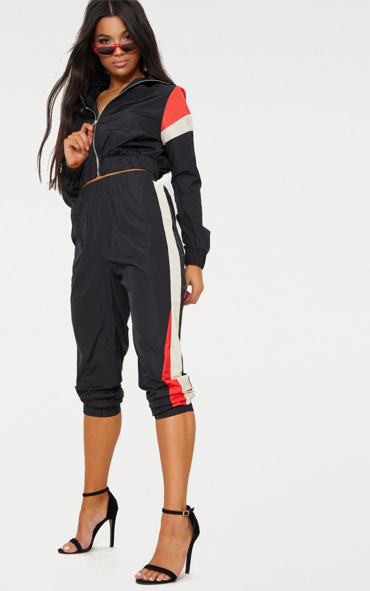 Black Stripe Shell Tracksuit Jogger 1