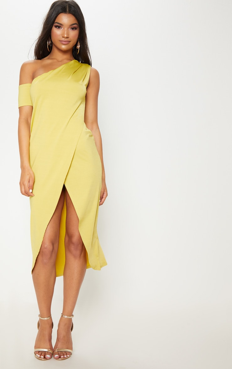 Lime Slinky One Shoulder Wrap Midi Dress 1