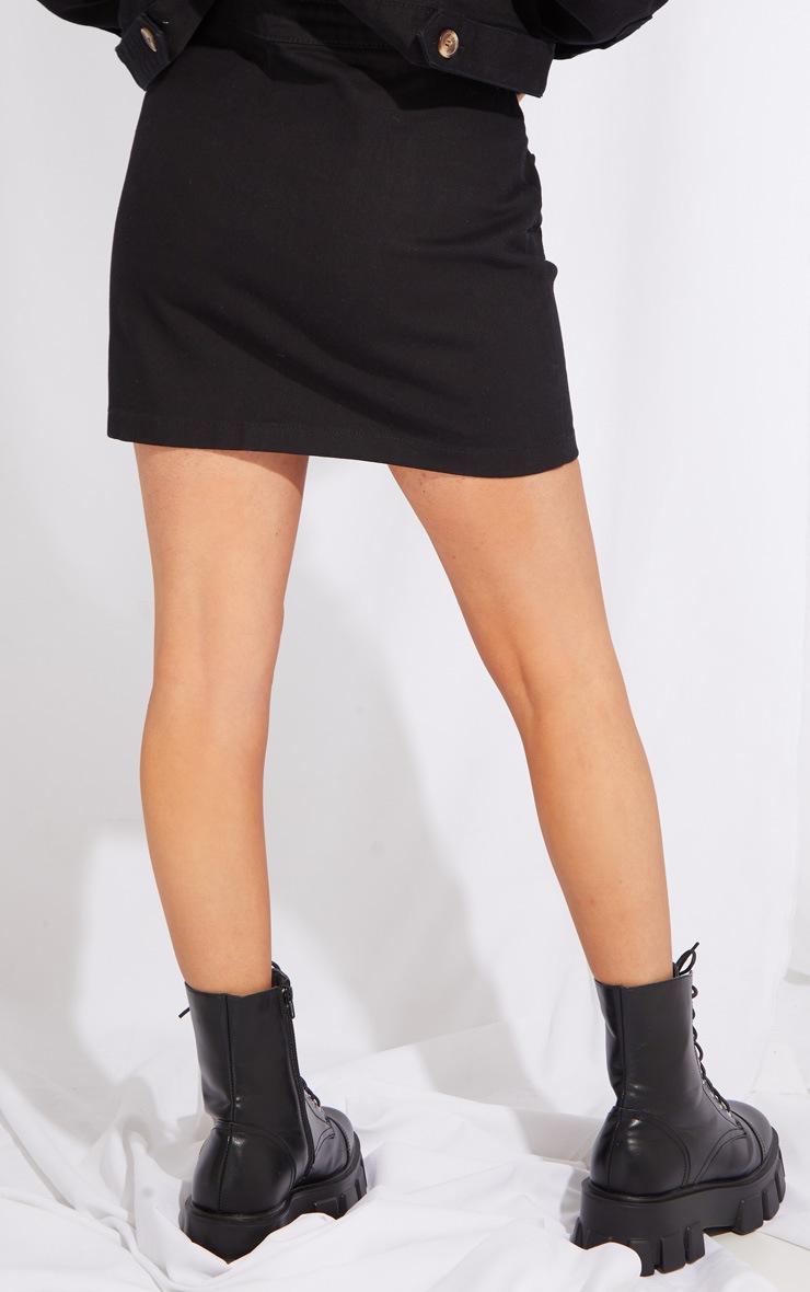Petite Black Button Front Denim Mini Skirt 3
