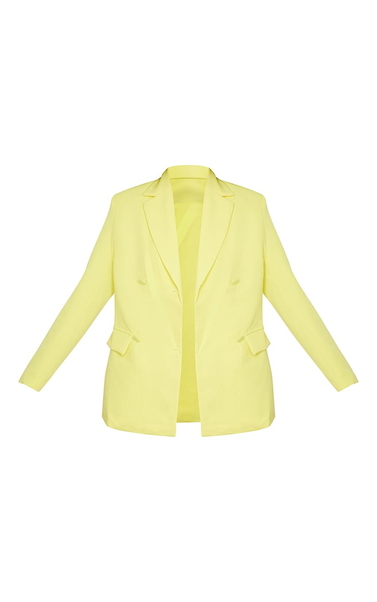 Yellow Woven Oversized Double Breasted Covered Button Blazer 5