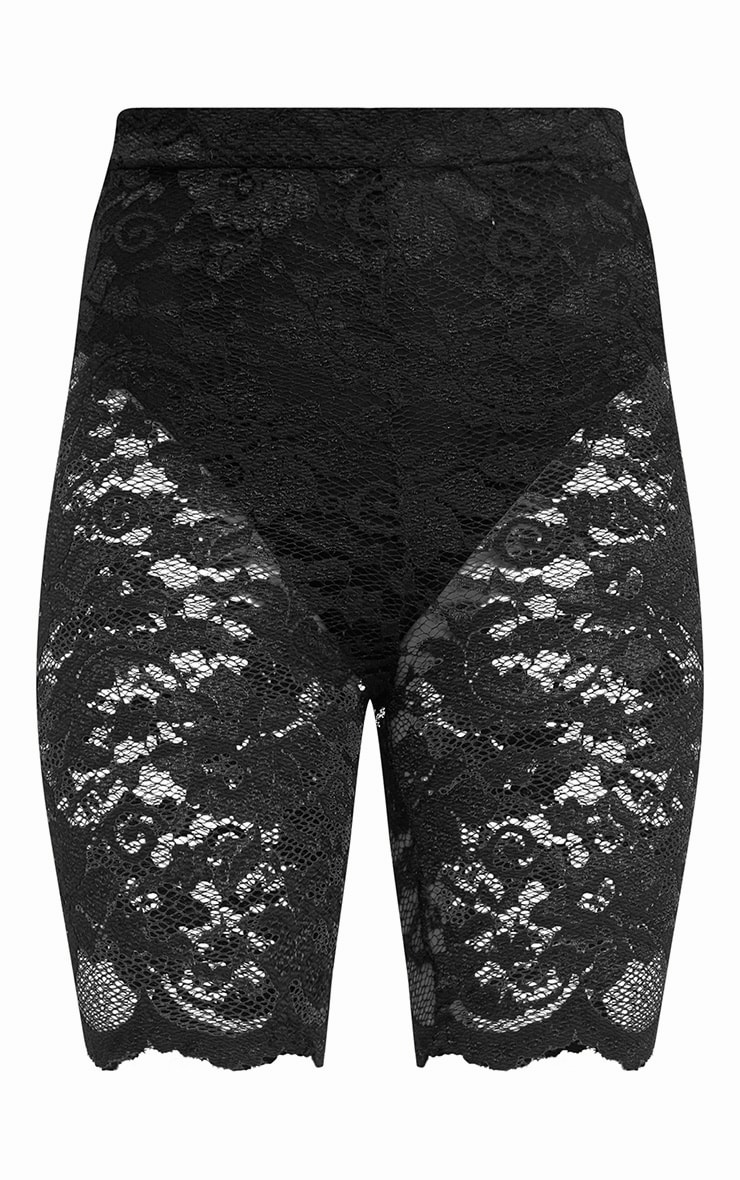 Black Scallop Lace Cycle Shorts 3