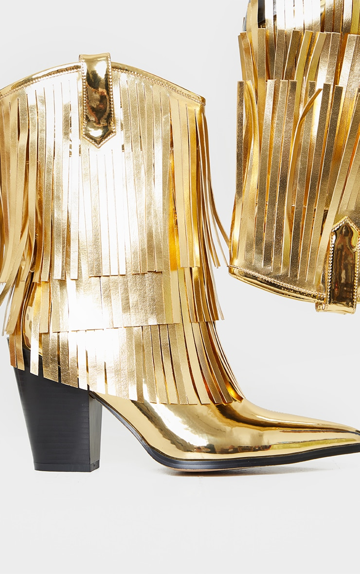 Gold Ankle Western Tassel Boots 4