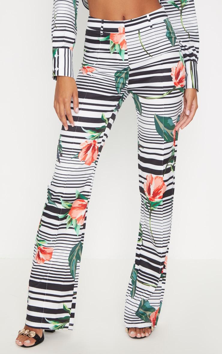 Mono Floral Print Straight Leg Trouser  2