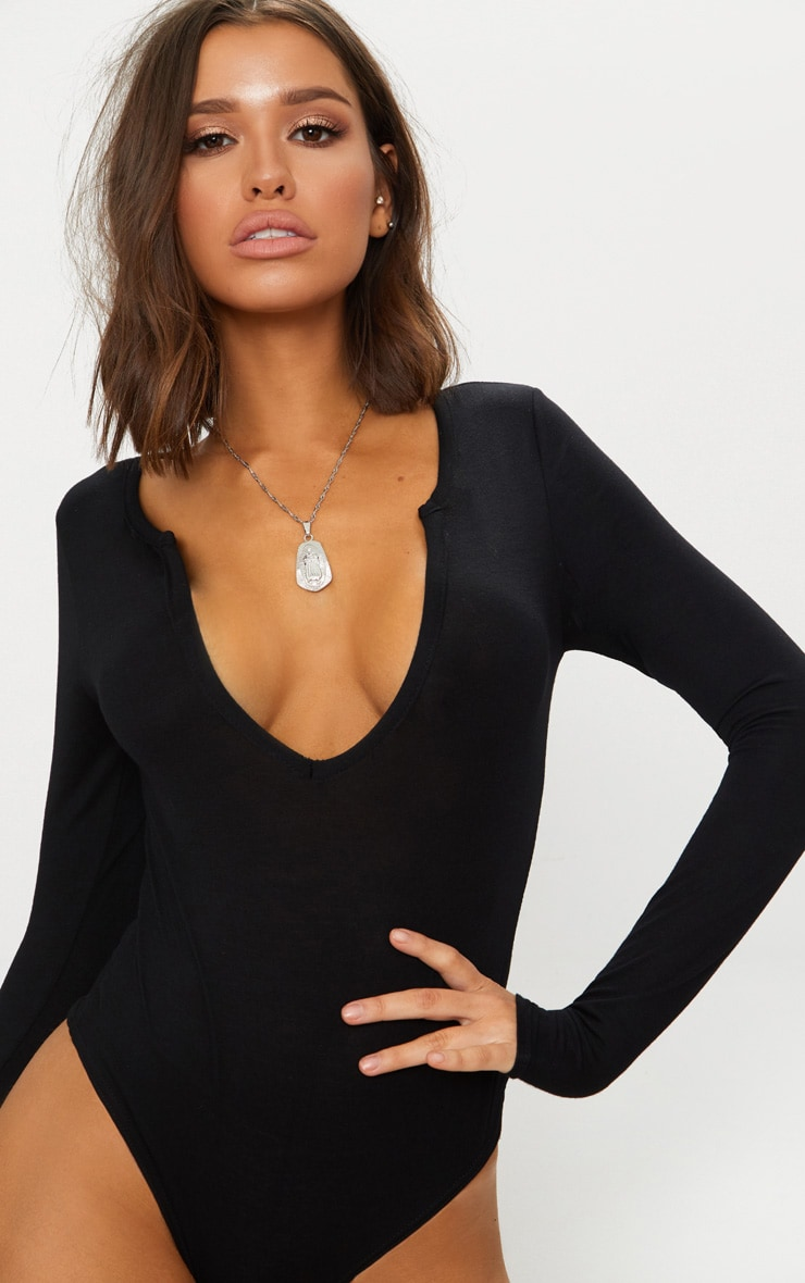 Black Jersey V Neck Long Sleeve Thong Bodysuit  2