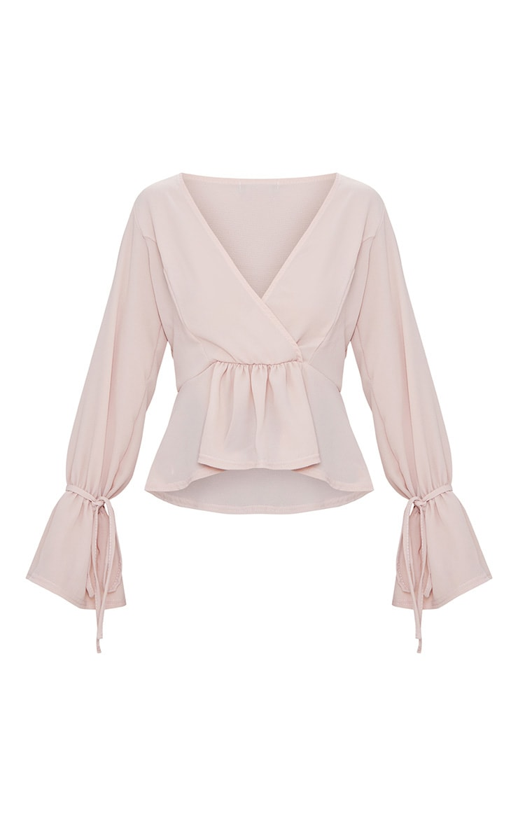 Blush Chiffon Deep Plunge Blouse  3