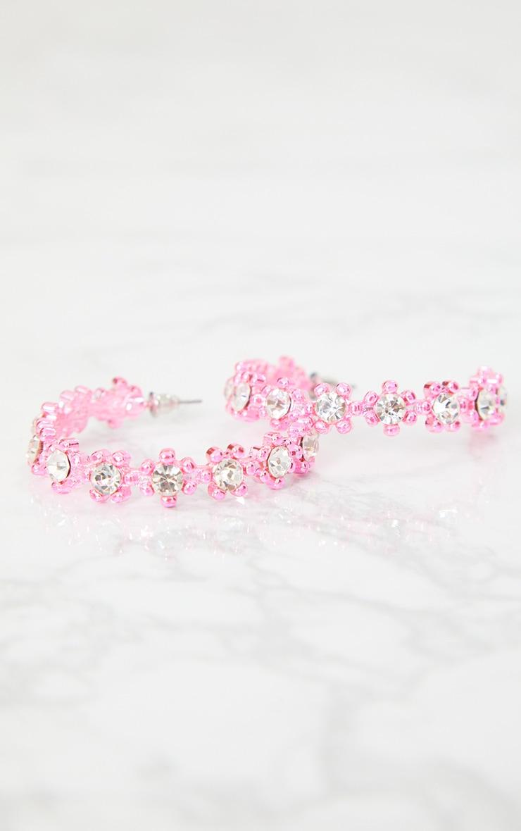 Pink Plated Diamante Floral Hoop Earrings 5