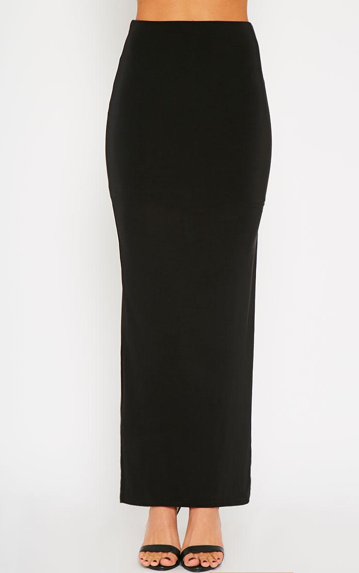 Helsa Black Slinky Split Maxi Skirt 2