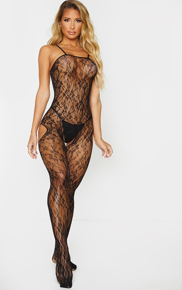 Black Lace Up All Over Lace Lingerie Slip